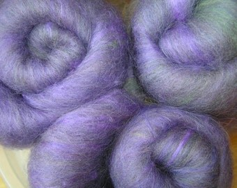 120g purple falkland, rayon and silk spinning batts, crocus