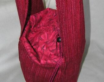 Handwoven knitting shoulder bag red