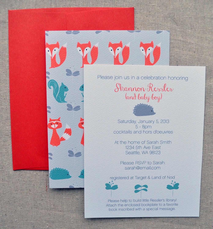 woodland creatures baby shower invitation set