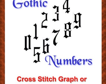 GOTH Cross Stitch Classic Gothic Numbers Graph or Hobbyware File
