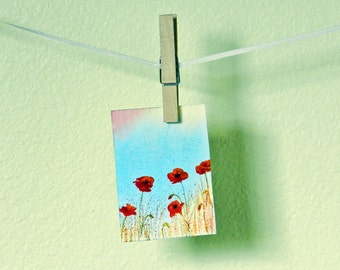 Poppy Field ACEO Watercolor Original Art, Wildflower Painting, Miniature Flower Art, Wild Poppies, Tiny Art Gift, Dollhouse Art