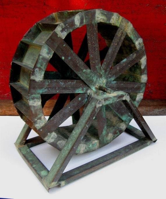Fantastic Homemade Primitive Folk Art Copper Water Wheel Or
