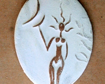 Spirit Goddess Ceramic Bead - Stoneware Handmade Goddess Pendant - Blessingway - Gift Venus holding the Moon - Large Oval Focal