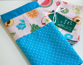Feelin' Fruity Cotton Kitchen Hand Towel / turquoise and pink kitchen / midcentury kitchen / polka dot towel / fruit theme gift for the cook