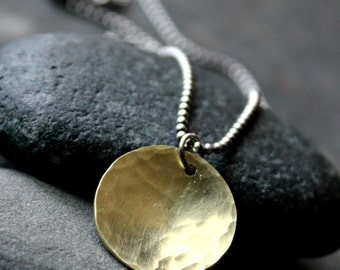 Hammered Brass and Sterling Silver Mixed Metal Necklace - SOL