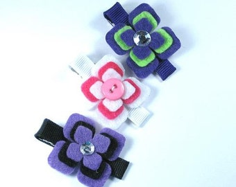 Set 3 Felt Hair Clips -Flower-Purple Pink-Black-Green