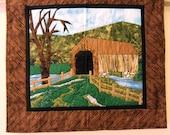 Spring landscape scene covered bridge quilted fabric art