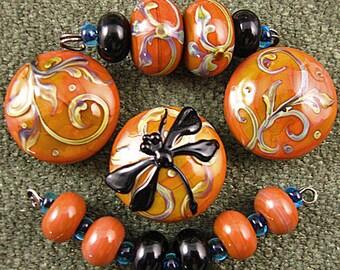 Carnelian Dragonfly Lampwork Bead Set by Kerribeads