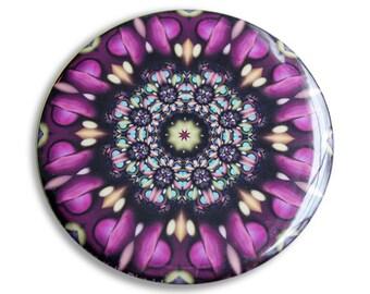 Fractal Pocket Mirror in Purple, Peach, Green and Blue - Great Wedding Favor, Teacher Gift, or Thank You - Afflatus Fractal Mandala