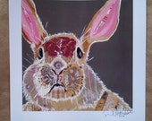 Funny Bunny Limited Edition Print From Original Painting Collage