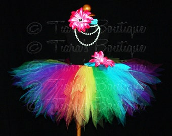 Rainbow Tutu and Headband Set - Girls Birthday Tutu - Iris, a magical rainbow pixie - 12'' Sewn Tutu - up to size 5T