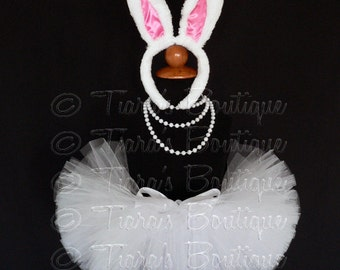 Easter Bunny Tutu Set, White Tutu and Bunny Ears, READY TO SHIP