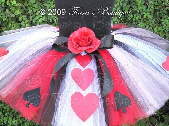 Queen of Hearts Tutu, Red Black White Tutu w/ Hearts, A Tiara's Boutique Original Design, Custom Sewn Birthday Tutu for Girls Babies Tweens