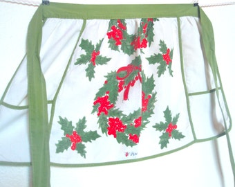 Vera Neumann Apron - Holiday Linen - vintage 1960's hand-painted Belgian linen apron - MINT