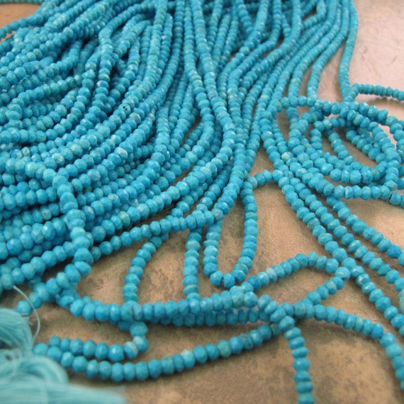 Turquoise Faceted Rondelles, 3.5mm - 4mm, 6.5 Inch Strand of Turquoise Beads, Jewelry Supplies (R-Tu1)