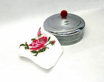 Antique Powder Dish Red Bakelite Knob Chrome And Glass 1920s Art Deco