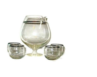 Vintage Roly Poly Glasses Handleless Pitcher a la Dorothy Thorpe Mid Century Mad Men