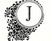 """Personalized Printable Initial """"J"""" Note Card."""