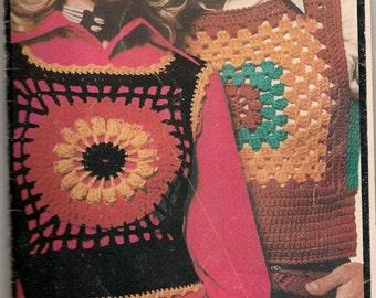 """RIB-TICKLERS - Vintage Women's Sunflower Crochet """"Shrink"""" style vest pattern (on Left)"""