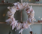 Tied With a Bow - Abandoned Vintage Lace, Burlap, and Fabric Rag Shabby Chic Wreath