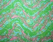 "Lilly Pulitzer fabric ""Shorely Blue CHOMP CHOMP""  100% cotton poplin ,  16""x16"""