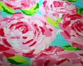 """Lilly Pulitzer fabric Hotty Pink First Impression~ 100% cotton 18"""" by 18"""""""
