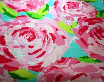 "Lilly Pulitzer fabric Hotty Pink First Impression~ 100% cotton 18"" by 18"""