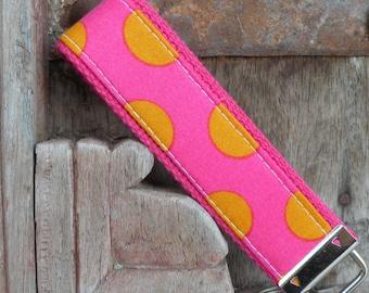 READY TO SHIP-Beautiful Key Fob/Keychain/Wristlet-Orange Dots on Hot Pink