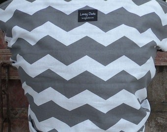 Baby Sling-ORGANIC Cotton Baby Wrap Sling Carrier-Gray Chevron on Black-One Size Fits All-Newborn to Toddler-DvD Included