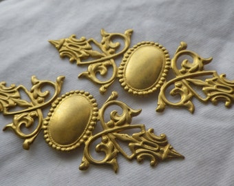 Wide Baroque Brass Stampings 75x28mm 4 Pcs