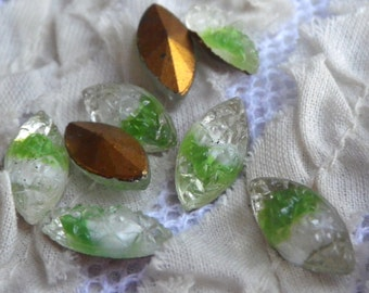 Vintage White and Peridot Green Givre Sugar Stone Foiled Doublets 15x7mm Navettes 8 Pcs