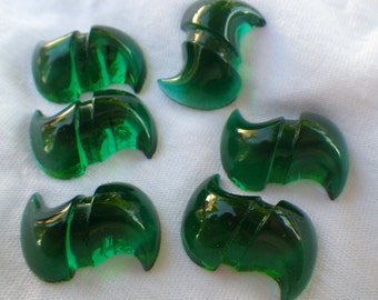 Emerald Green S Stones Vintage 1940s 25x18mm 6 Pcs