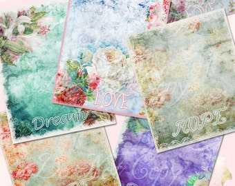 Buy 1 Get 1 Free Dream - Love - Hope Altered Art Shabby Digital Stationary Papers INSTANT DOWNLOAD