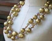 REDUCED Vintage Plastic Beaded Necklace,  Vintage Necklace, Double Strand Necklace, Gold Beaded and Auroraborealis Necklace, Etsy Jewelry,