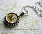 Typewriter Key Necklace - Crown Bezel - Your Choice of Authentic Vintage Key