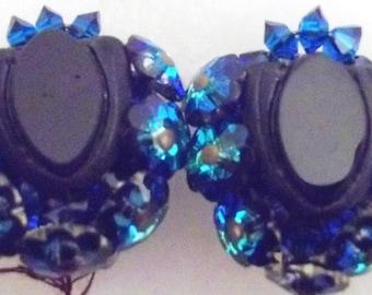 Exquisite Vintage Deep Sapphire Blue Art Glass Sparkly Earrings