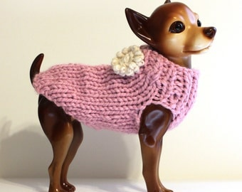 Pink Dog Sweater Hand Knit