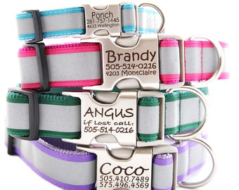 Personalized Reflective Dog Collar - with Laser Engraved Buckle - 8 Colors to Choose From