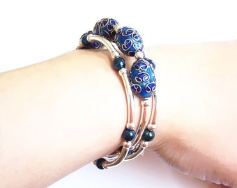 Blue, Silver, Memory Wire Bracelet, Handmade Jewelry,