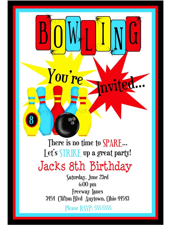 bowling invitations boys bowling birthday party cosmic