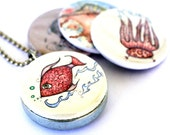 Sealife (recycled magnetic locket set) fish, seahorse and octopus wearable art