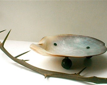 Mother of Pearl Shell Dish Footed - Silver Balls Shallow Bowl Vintage 1900s