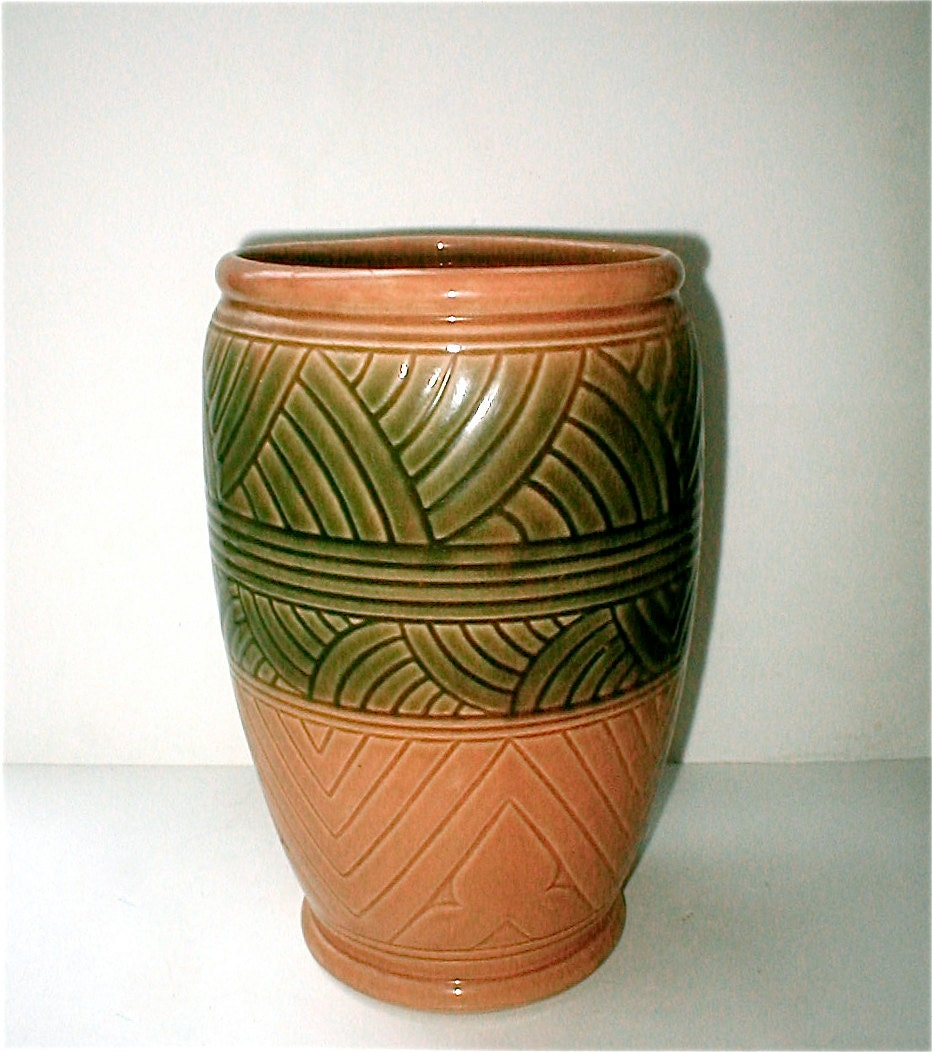 Egyptian Revival Deco Vase Robinson Ransbottom Pottery