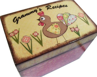 Recipe Box, Wood Recipe Box, Decoupaged Recipe Box, Rooster, Chicken Box, Wedding Recipe Box, Bridal Shower,, Holds 4x6 Cards, MADE TO ORDER