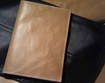 Large Leather Book Journal Cover Tan Color  Plus Custom Stamping Free Wrap End
