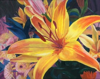 Orange and Yellow Lily bouquet flowers acrylic painting Giclee Reproduction 11x14