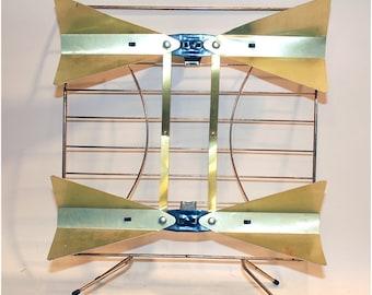 vintage TV antenna brass, metal wire industrial retro decor