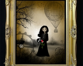 Dark Steampunk Goth Girl Art Print  --- Every Rose - 8 x 10 Inch