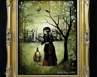 Steampunk Art Print --  At the End of the Day -- Goth Girl - Dragonflies - Woodland