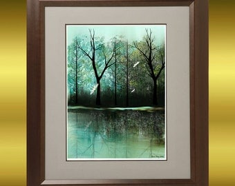 Art  Digital Painting -  Contemporary Art Tree Print -- Neverwinter -- Landscape Trees and Dragonflies